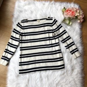 J Crew Navy And White Striped Sweater